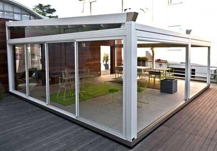 Veranda esterna moderna vetro e PVC
