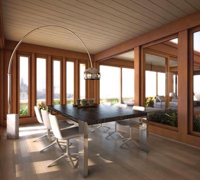Progetto di una veranda moderna in legno a Monza